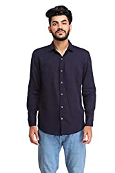 Snoby navy blue plain cotton shirt SBY8071