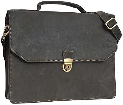 """Gusti Cuir studio """" Travis"""" sac notebook 15,6"""" sac à bandoulière serviette en cuir homme femme porte-documents mallette attaché-case sacoche sac porté épaule gris 2B7-22-6"""