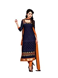 Adorn Mania Blue Georgette Embroidered salwar Suits Dress Material