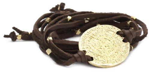 Ettika Brown Leather Wrap Bracelet Gold Colored Phaistos Coin Charm