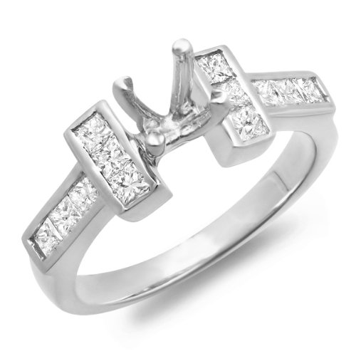 0.50 Carat (Ctw) 14k White Gold Princess Diamond Ladies Bridal Engagement Semi Mount Ring (No Center Stone)