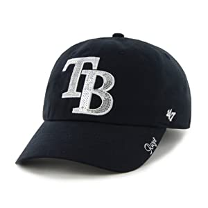 MLB Tampa Bay Rays Ladies Sparkle Team Color Cap, One-Size, Navy by