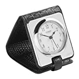 Carrs Silver Leather and Silver Travel Alarm Clock