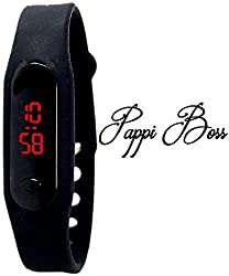 Pappi Boss Black Band Trendy Digital Silicone Jelly Slim Mi Band Led Digital Watch