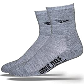 DeFeet Woolie Boolie 4in D-Logo Grey Cycling/Running Socks - WBGRY