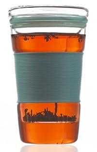 INFUZ Tea Glass Hand Made Tea glass with Glass Infuser 360 ml (12.2 fl oz) (Blue)