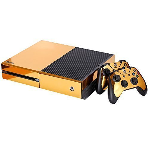 NDAD Full Body Golden Protective Vinyl Skin Decal For Xbox one Console and 2PCS Xbox one Controller Skins Stickers