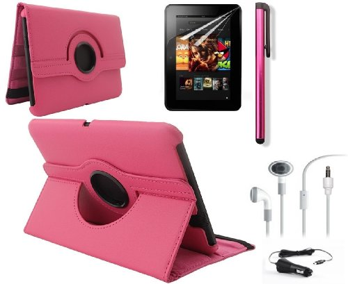 """Ruban (Tm) 360 Rotating Stand Pu Leather Case Cover / Screen Protector / Stylus / Earphone / Car Charger For Kindle Fire Hd 7"""" 2012 Version Tablet (With Smart Cover Function: Automatically Wakes And Puts The Kindle Fire Hd To Sleep) (Hd 7 (Old Gen 2012),"""