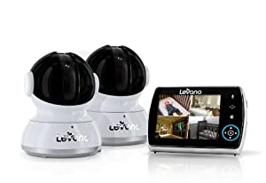 """Levana® Keera 3.5"""" LCD, Pan/Tilt/Zoom Digital Baby Video Monitor with 24hr Battery, Touch Panel, Talk to Baby Intercom & SD Video Recording - 2 Camera System (32016)"""
