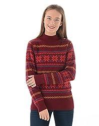 US Polo Women's Cotton Sweater (UWSW0122_Pomegranate_S)