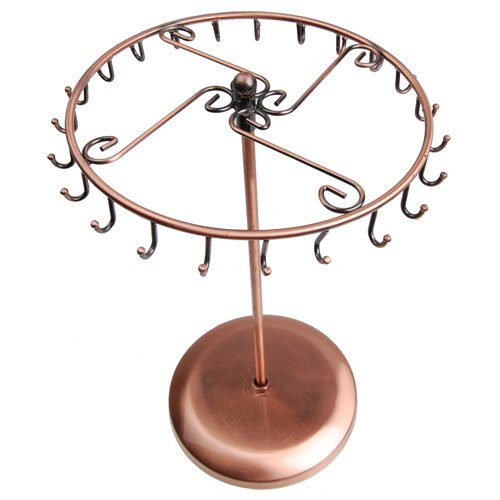 Copper Color Metal Rotating Revolving Necklace Pendant Holder Jewelry Display Stand