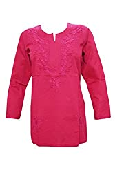 Indiatrendzs Lucknow Chikan Handmade Embroidered Kurti Women's Cotton Kurta Top L