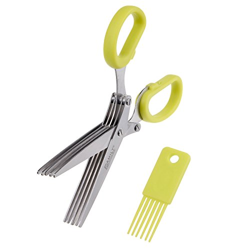 Herb Scissors with 5 Extra Sharp Blades - Cuts, Slices and Chops Herbs 5x Faster - Ideal Time-Saving Kitchen Essential - Handy Cleaning Rake Included - Stainless Steel Blades - Dishwasher Safe Review
