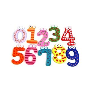 SODIAL- Funky Fun Colorful Magnetic Numbers Wooden Fridge Magnets Kids Educational toys