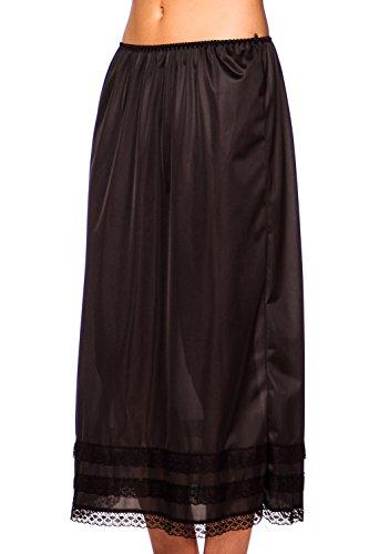 Womens Patricia Lingerie Plus Size Snip-it 27″ 29″ or 31″ Luminesse Full Slip Black XXL