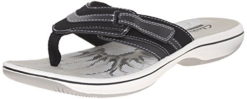 Clarks Women's Brinkley Keeley Flip Flop, Black Synthetic, 12 M US