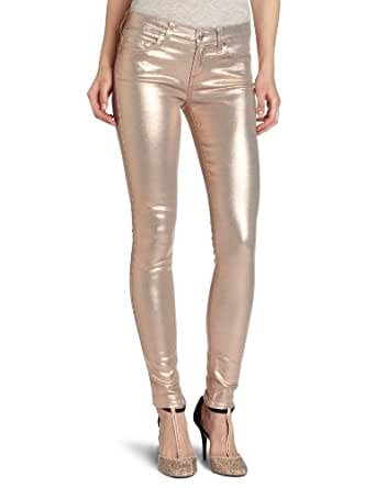 7 For All Mankind Women's The Skinny Jean in Metallic Light Blush, Metallic Light Blush, 24