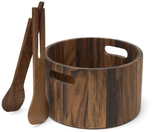 Woodard & Charles Acacia Woodard Salad Bowl and Tong Set, 10-1/4-Inch