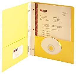 Smead Two-Pocket Heavyweight Folder, Tang Strip Style Fastener, Fastener-Up to 80 Sheets/Pockets-Up to 100 Sheets, Letter Size, Yellow 25 per Box (88062)