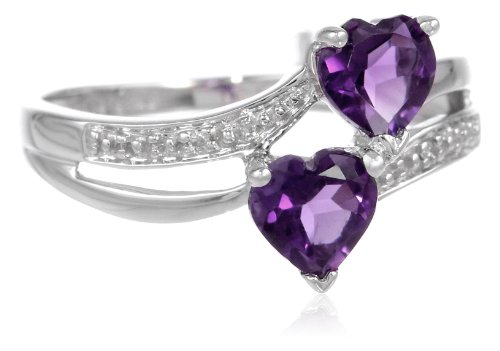 10k White Gold Double Heart-Shaped Amethyst with Diamond Heart Ring