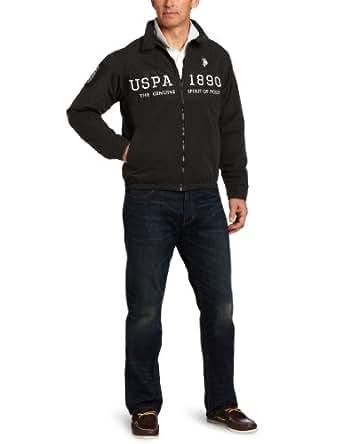 U.S. Polo Assn. Men's Chest Color-Block Golf Jacket, Black, Large