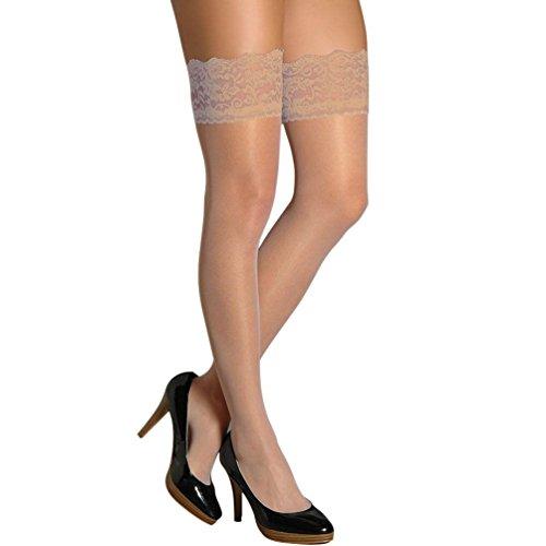 Berkshire Women's Romantic Lace Top Thigh High - Sandalfoot (1363 )-Nude,Q2-3PK