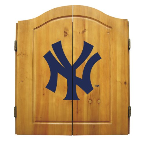 Check Out This MLB New York Yankees Solid Pine Cabinet And Bristle Dartboard Set