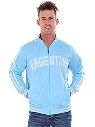Simplicity Men\'s Soccer-Style Argentina Track Jacket w/ Pockets, L Blue 2XL