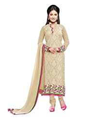 Aarti Saree Fashionable Party Wear Beige Straight Suit Available In Matching Dupatta And Bottom
