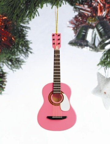 Pink Acoustic Guitar Tree Ornament