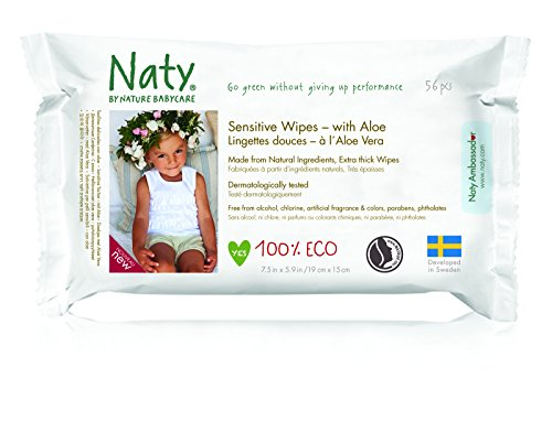 Nature Babycare Eco-sensitive Wipes with Aloe, Fragrance-Free, 56 Count (Pack of 12)