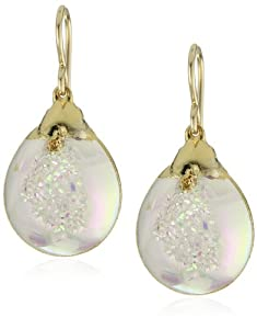 "Devon Leigh ""Nature's Wonders"" Rainbow Drusy Quartz in 24k Gold Foil Earrings"