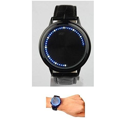 Blue hybird LED watch 60led touch screen elegant fashion design stainless steel with PU leather band for men/women sport by AM928