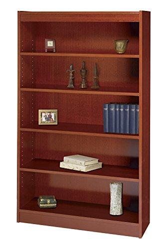 Safco 5-Shelf Square-Edge Veneer Bookcase - Cherry Safco Workspace 5 Shelf