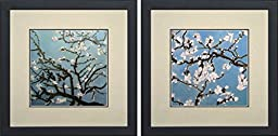 King Silk Art 100% Handmade Embroidery Mixed Group Almond Branches in Bloom - Van Gogh Chinese Wildlife Flower Painting Gifts Oriental Asian Wall Art Decoration Artwork Hanging Picture Gallery 36092WF+36132WF