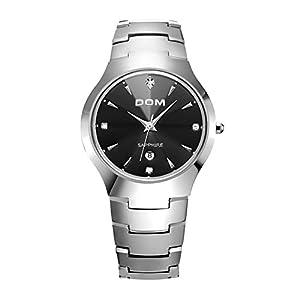 Tungsten Steel Quartz Black Dial Men's Watch #W-698-2