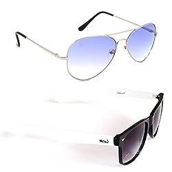 Elligator Stylish Aviator Silver Blue And White Wayfarer Sunglasses Combo ( Set of 2 )