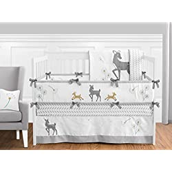 Grey Gold and White Forest Deer and Dandelion 9 piece Crib Bed Bedding Set with Bumper for a Newborn Baby Girl or Boy