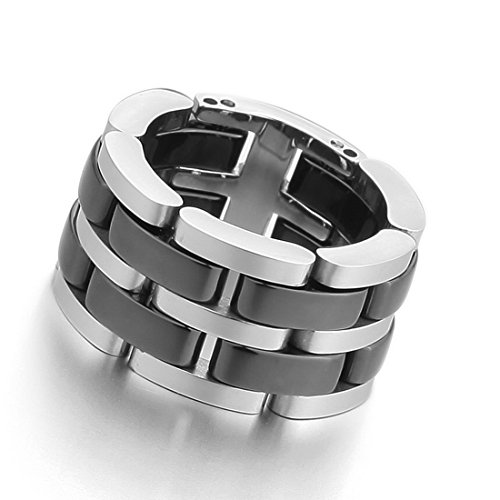 Men'S Stainless Steel Ceramic Ring Band Silver Black Hollow Openwork Links Polished Unique Size8