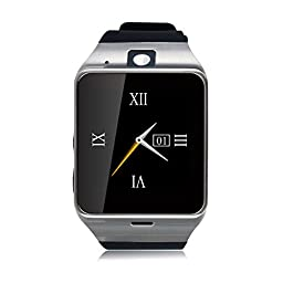 Geelyda Smart Watch Aplus GV18 Bluetooth phone Camera Sweat Proof Wrist Watch with SIM Card Slot and GSM NFC for IOS iPhone, Android Samsung HTC Sony LG Smartphones (Black)