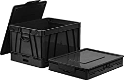 Storex 3 Pack Collapsible Crate with Lid, 17.25 x 14.25 x 10.5 Inches Black, Gray and Blue