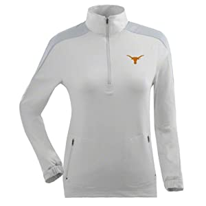 Texas Ladies Succeed 1 4 Zip Performance Pullover (White) by Antigua
