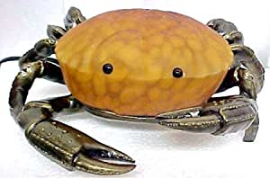 Amber Stained Glass Crab Lamp with Bronzed Metal Base