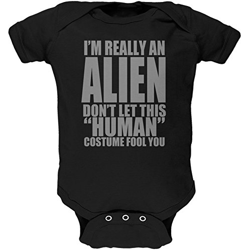 Halloween Human Alien Costume Black Soft Baby One Piece