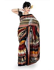 Designersareez Women Bhagalpuri Silk Printed Multicolor Saree With Unstitched Blouse(827)