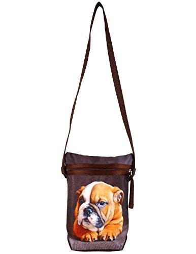 Grafica digitale Cane Croce Body Satchel Handbag - Adorabile stampa all-over - Poliestere Dupion Faux Seta - 8 x 10 x 2,5 pollici