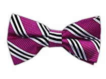 100% Silk Woven Fuschia Striped Self-Tie Bow Tie