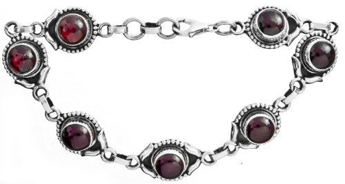 Sterling Bracelet with Gems - Sterling Silver - Color Garnet