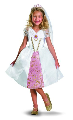 Disney Tangled Rapunzel Wedding Gown Costume, Gold/White/Pink, Small image