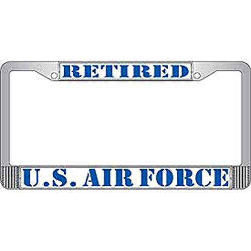 US Armed Forces Military Metal License Plate Frame - United States Air Force USAF Retired (Usaf Retired License Plate Frame compare prices)